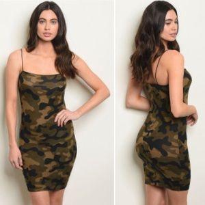 Dresses & Skirts - Olive Camo Print Dress